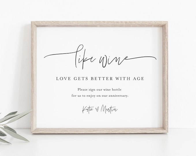 Wine Wedding Guestbook Sign, Like Wine Love Gets Better With Age, 100% Editable Template, Minimalist, Instant Download, Templett #0009-41S