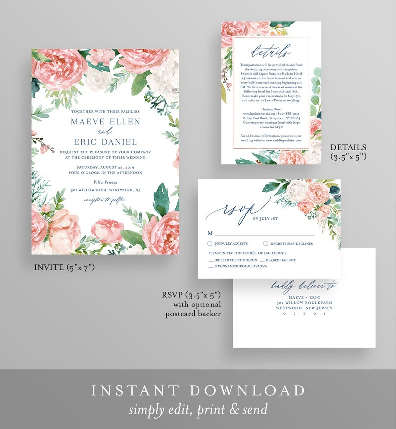 Templett #069A RSVP /& Details Watercolor Floral and Greenery Invite Editable Wedding Invitation Set Template INSTANT DOWNLOAD Printable