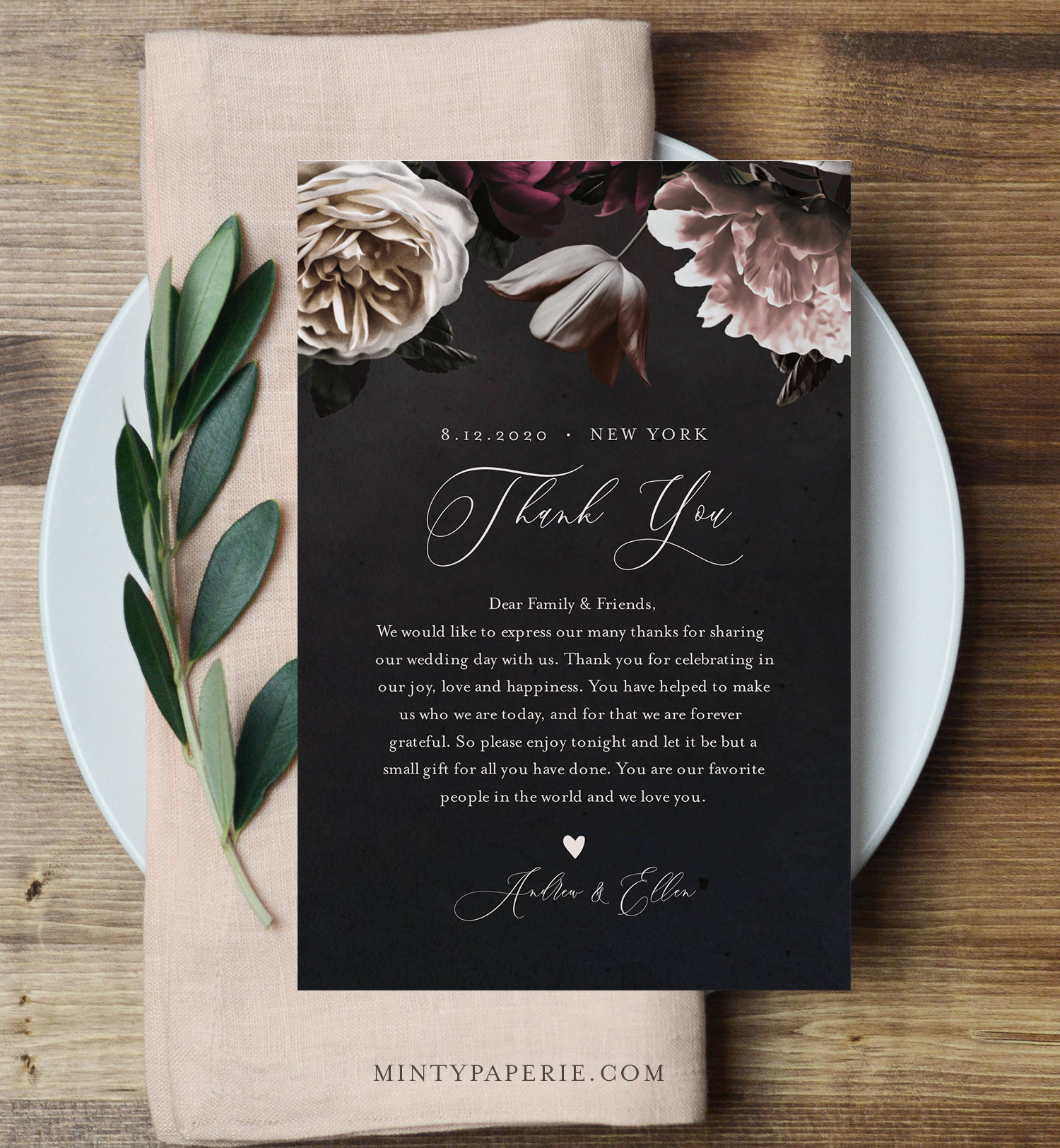 Thank You Letter, Wedding Napkin Note, In Lieu Of Favor