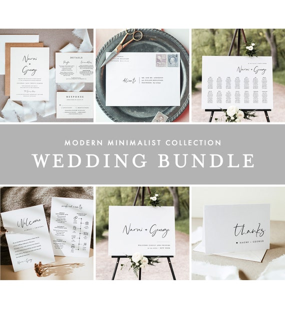 Modern Minimalist Wedding Bundle, Wedding Essential Templates, Simple Invitation Suite, 100% Editable, Instant Download, Templett 096-BUNDLE