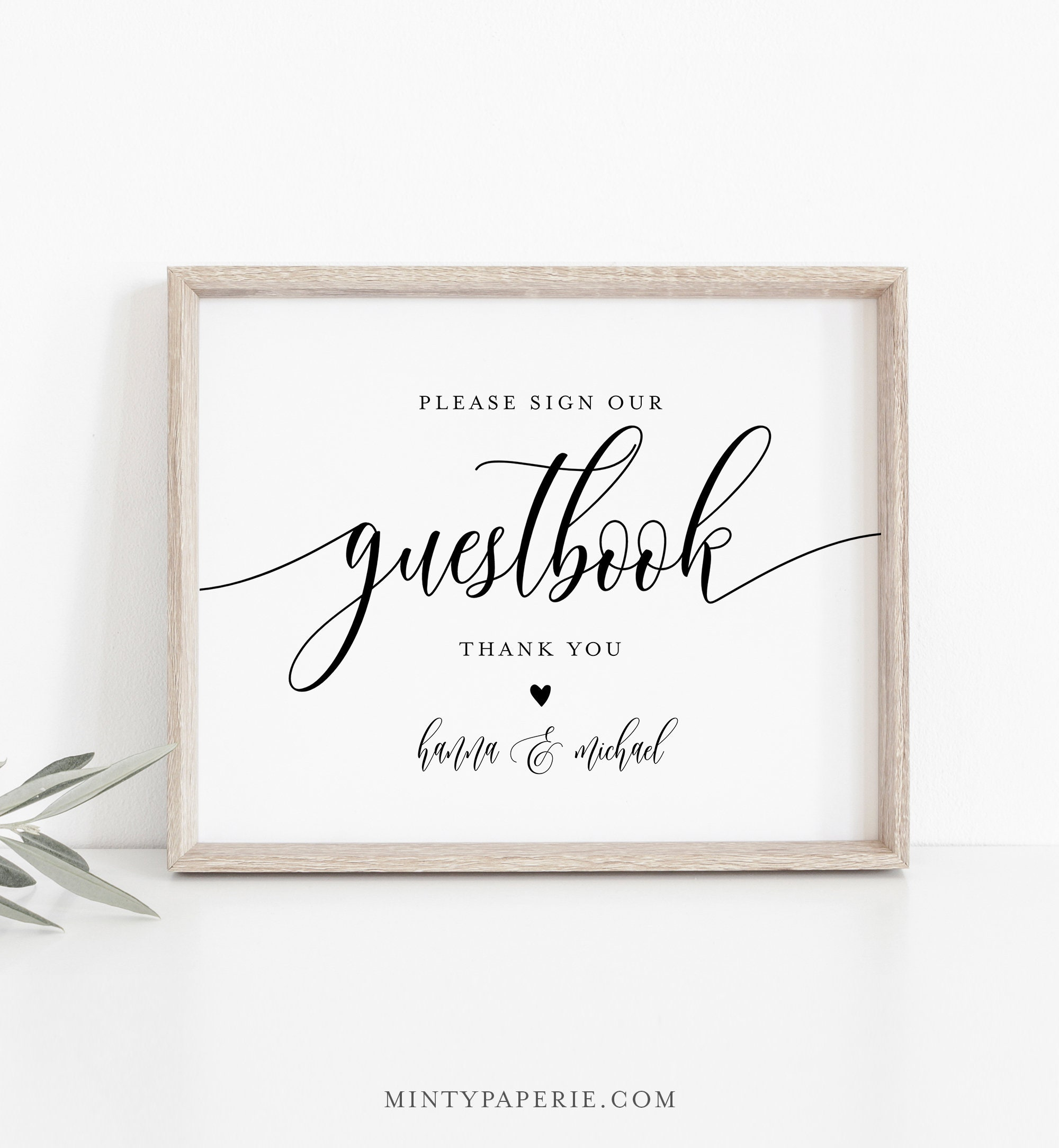 Templett Minimal Modern Guest Book Wedding Sign Template Digital Download Print Your Self