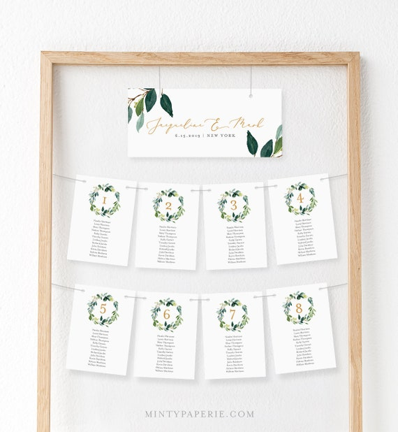 seating chart cards table seating template greenery wedding etsy