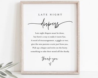 Late Night Diapers Sign, Minimalist Baby Shower Game, Modern Diaper Notes, Editable Template, Instant Download, Templett, 8x10 #0009-271BASG