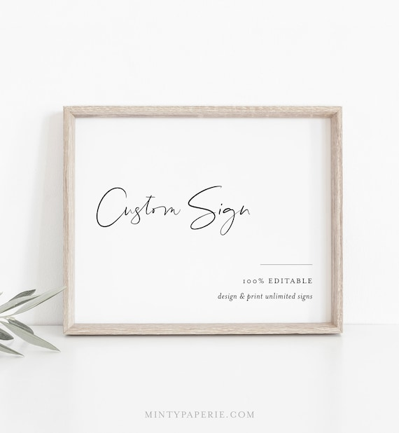 Simple Modern Custom Sign Template, Minimalist Wedding or Bridal Shower Table Sign, Create Any Sign, INSTANT DOWNLOAD, Templett #096-151CS