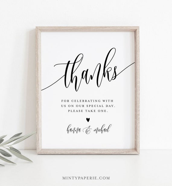 Wedding Favors Sign, Editable Template, Printable Favors Card, Thank Guests Tabletop Sign, Instant Download, Templett, 8x10 #008-10S