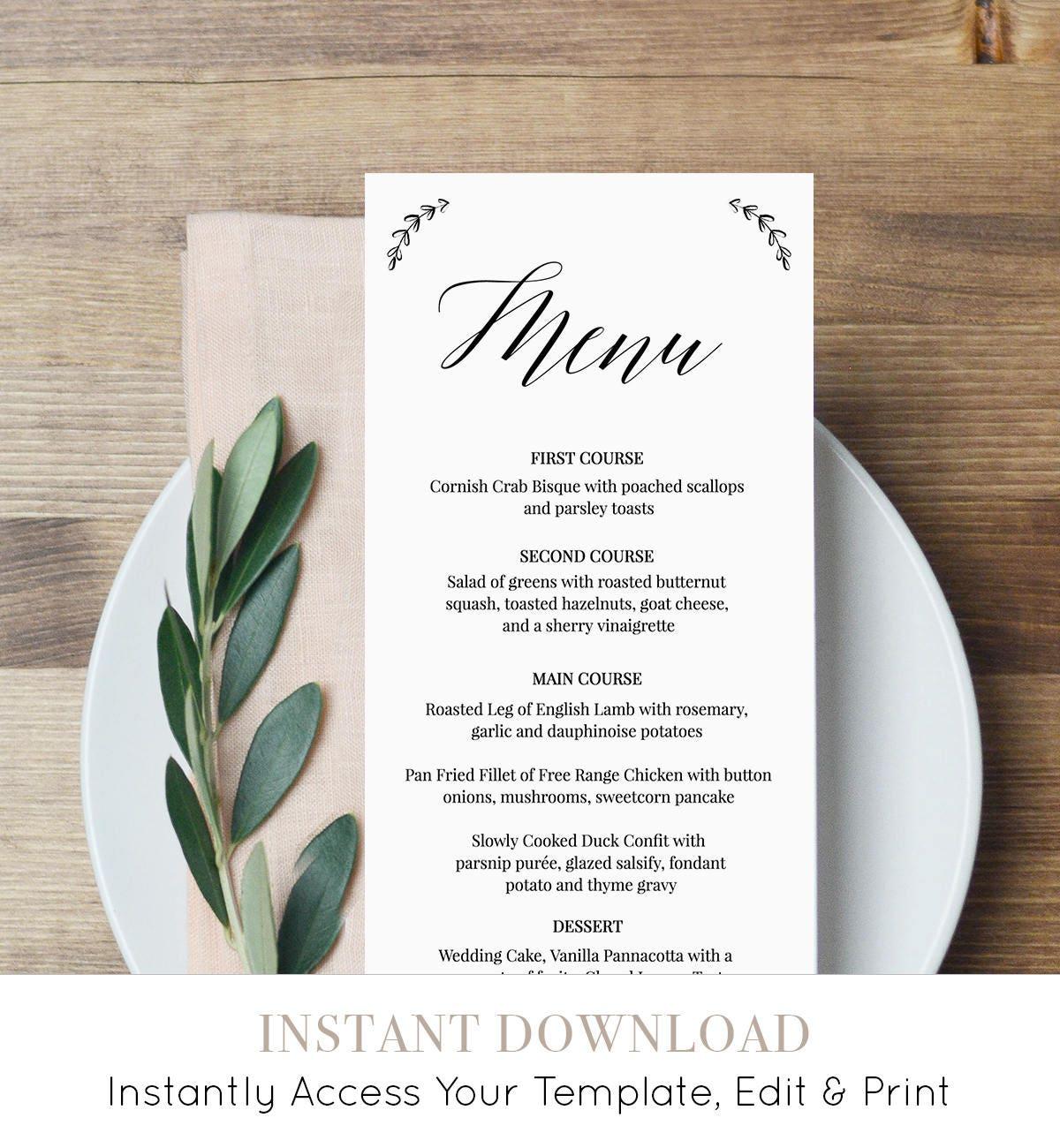 Menu Template, Wedding Dinner Menu Printable, 100% Editable Template ...