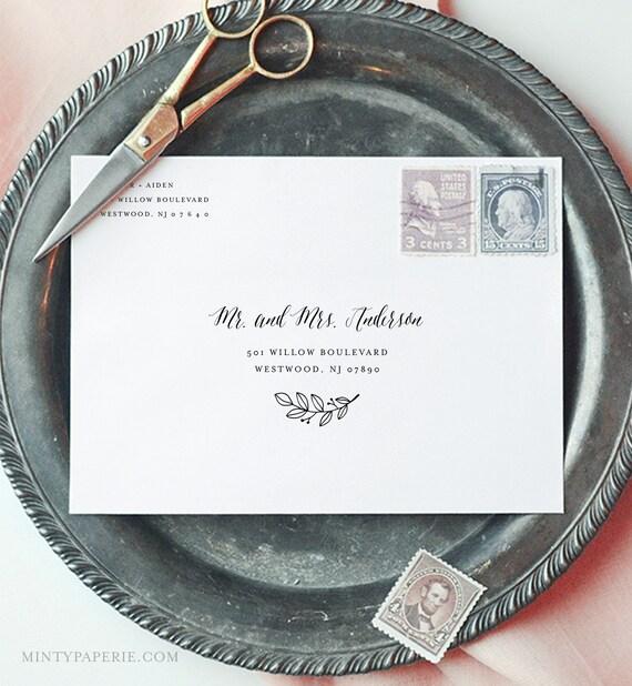 Wedding Envelope Template, Modern Calligraphy Address Printable, DIY Envelope, Instant Download, 100% Editable Template, A7 & A1 #039-136EN