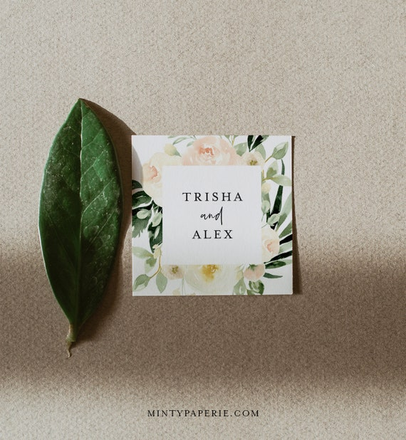 Floral Favor Tag Template, Greenery Wedding or Bridal Shower Thank You Tag or Label, Editable, Square or Circle Tag, Templett #076-121SF