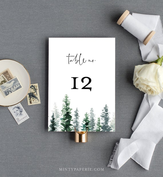 Rustic Wedding Table Number Template, Printable Winter Pine Table Card, INSTANT DOWNLOAD, Editable Text, Templett, 4x6 & 5x7 #073-136TC