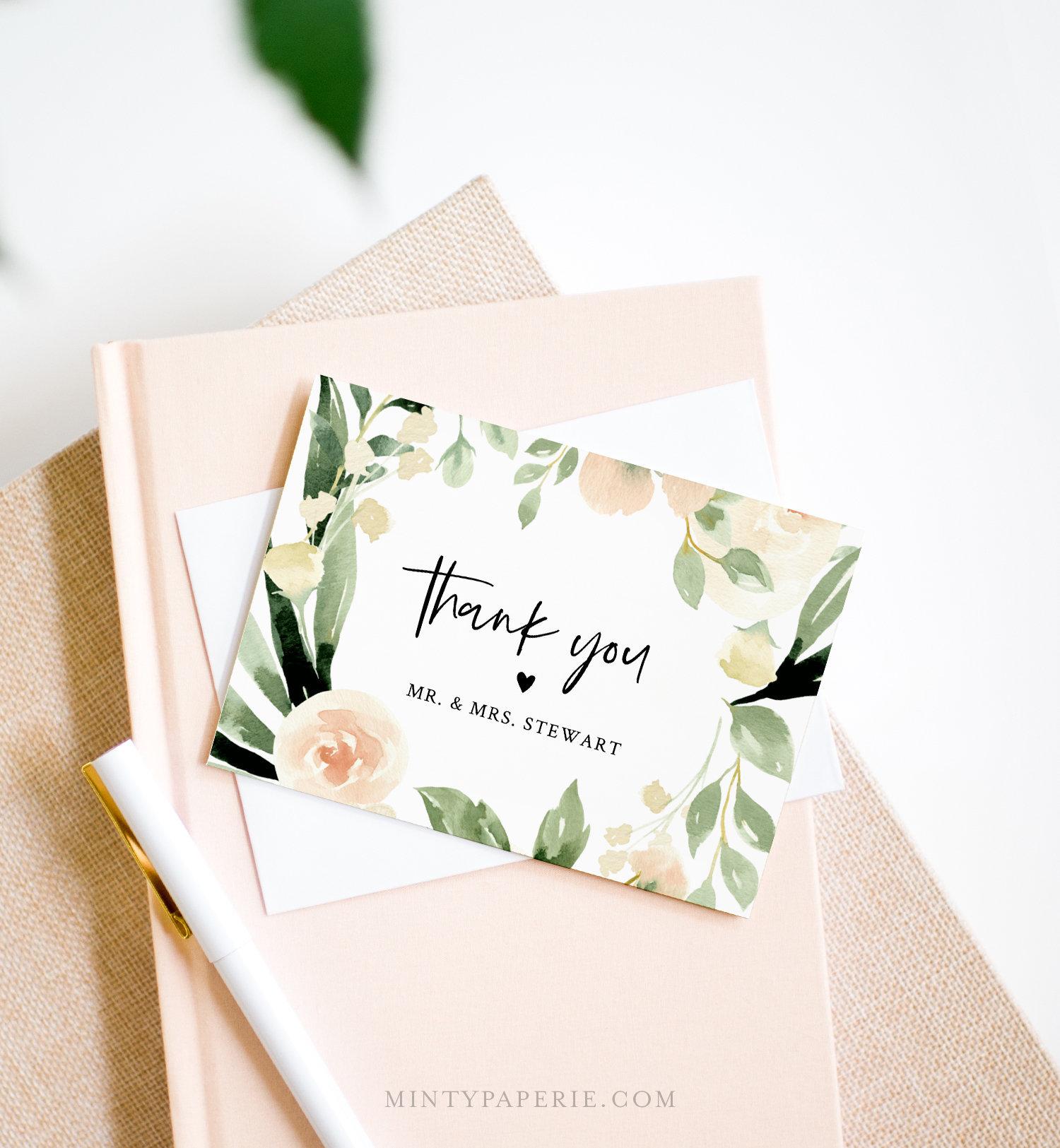 Thank You Card Template, Printable Peach Florals Wedding ...
