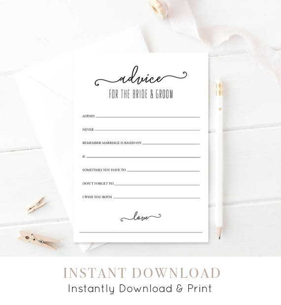 Wedding Advice Card | Printable | Bridal Shower Game | Wedding Shower Game | Advice for the Bride & Groom  | Instant Download #030-101AD
