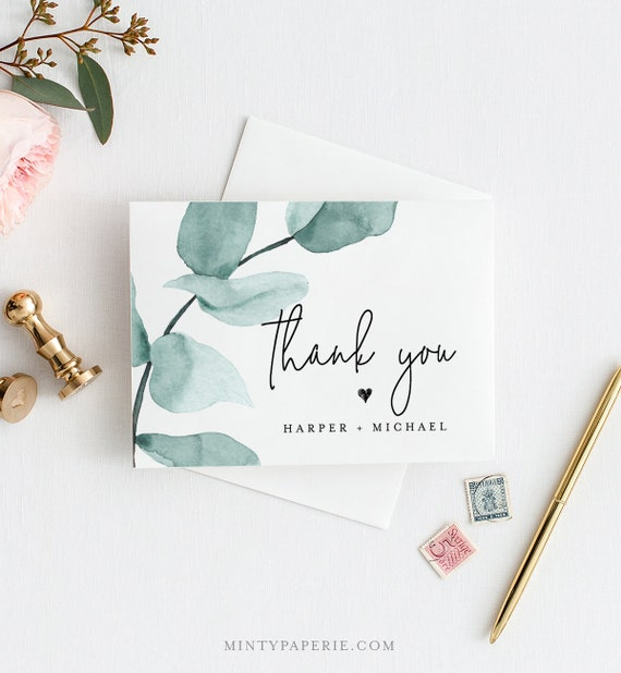 Eucalyptus Thank You Card Template, INSTANT DOWNLOAD, 100% Editable Text, Printable Greenery Wedding Thank You Folded Card, DIY #049-108TYC