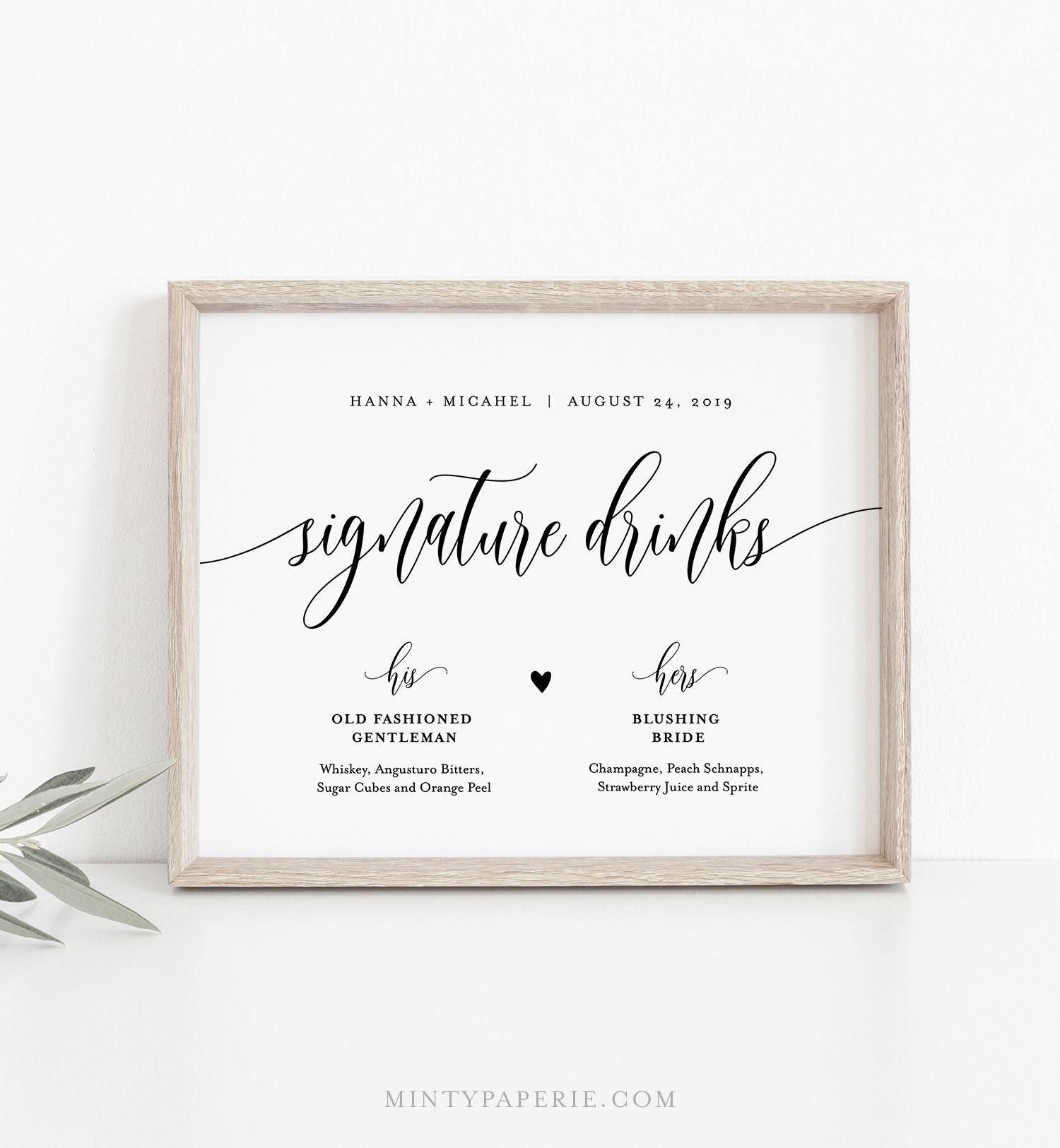 Wedding Signature Drinks.Wedding Signature Drinks Sign Editable Template Printable