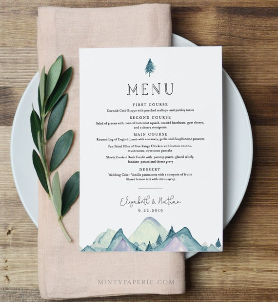 Wedding Menu Template, Rustic Mountain Evergreen Wedding Menu Card, Printable Pine Tree Menu, INSTANT DOWNLOAD, Editable Text #063-141WM