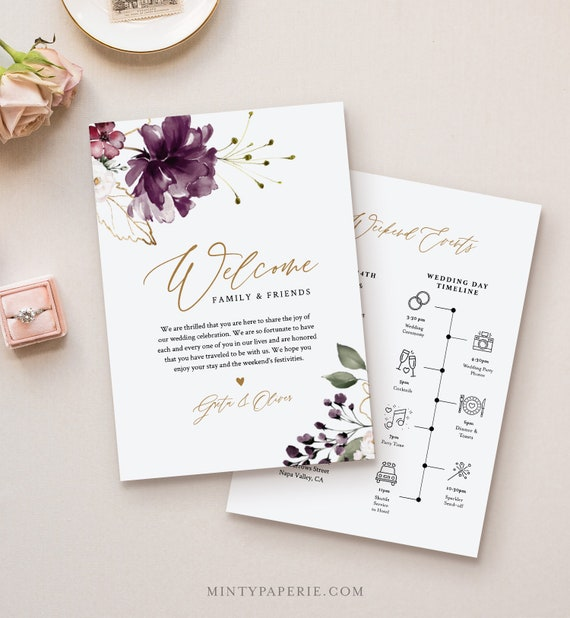 Welcome Bag Letter & Timeline Template, Printable Wedding Order of Events, Editable Itinerary, INSTANT DOWNLOAD, Purple Florals #006-125WB