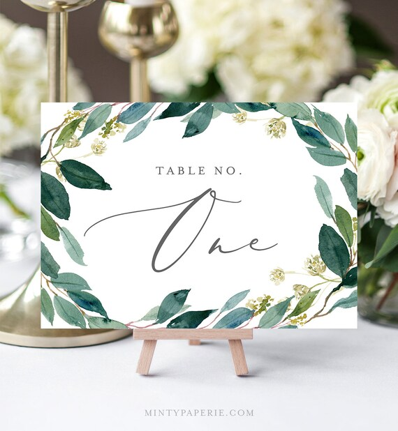 Greenery Table Number Template, INSTANT DOWNLOAD, 100% Editable, Printable Greenery Wedding Table Card, Boho Decor, Templett #044-123TC