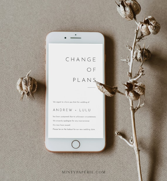 Change of Plans / Date, Postponed Wedding Date Announcement, Cancelled, Evite, Text Message, 100% Editable, INSTANT DOWNLOAD #094-118SDD