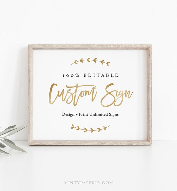 Custom Wedding Sign Template, 100% Editable, Gold & Rose Gold Foil, Create Unlimited Signs, INSTANT DOWNLOAD, Printable, 5x7, 8x10 050-127CS