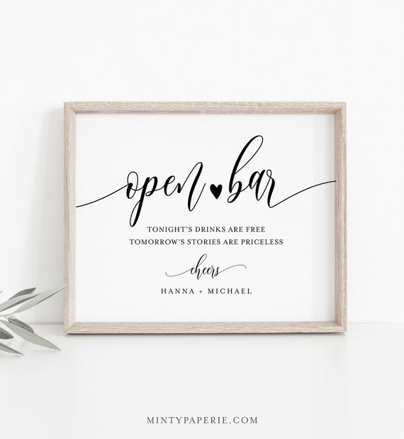 Open Bar Wedding Sign Template, Printable Funny Bar Sign, Editable, INSTANT DOWNLOAD, Bar Menu, Cocktail, Alcohol, Drinks, Templett #008-04S