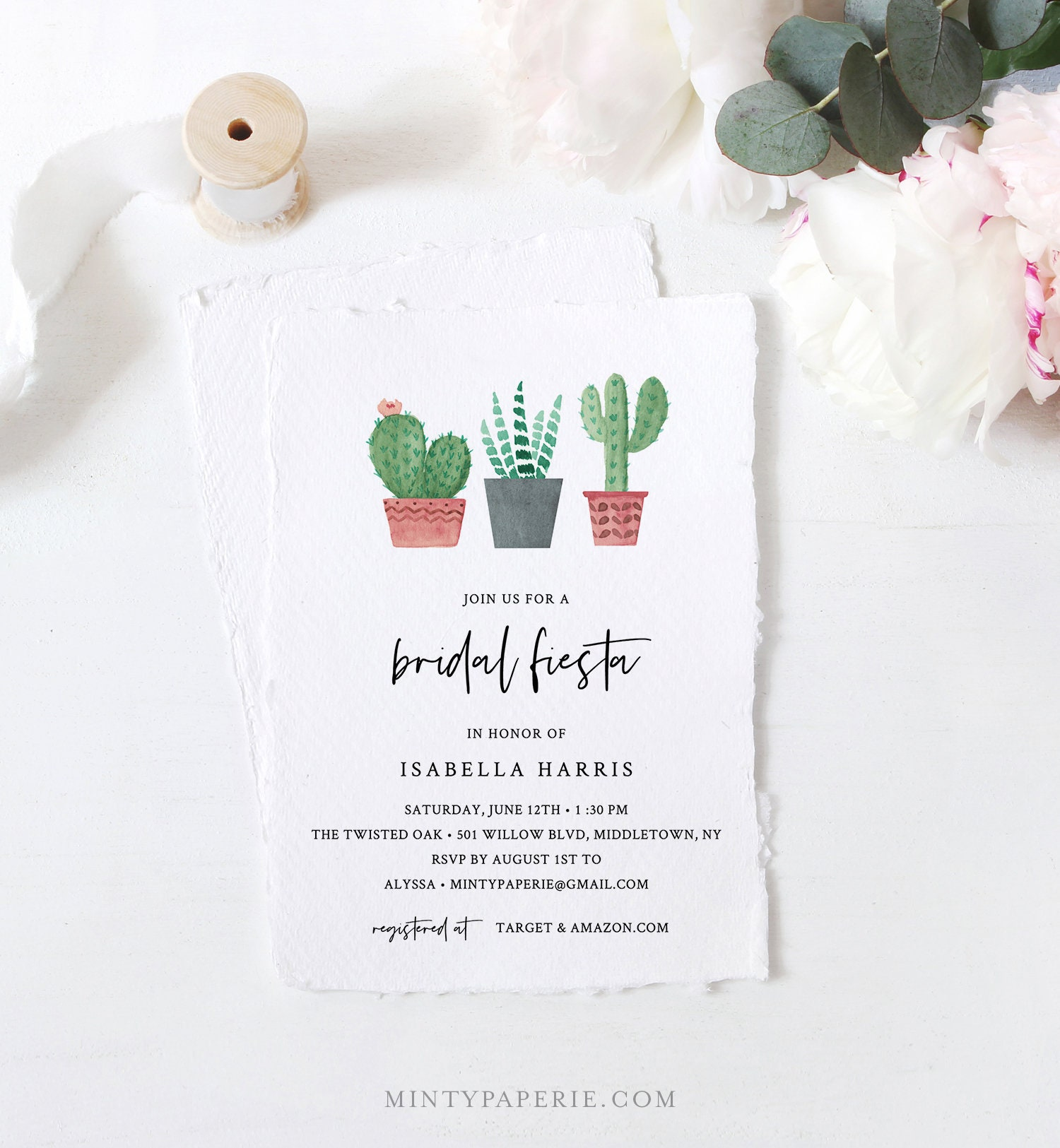 Fiesta Bridal Shower Invitation Template Cactus Succulent Wedding Shower Invite 100 Editable Text Printable Instant Download 086 241bs
