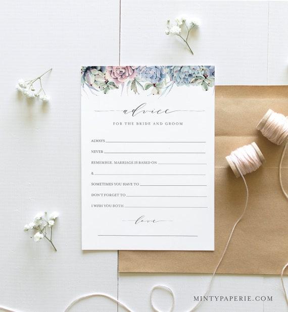 Bridal Shower Advice Card Template, Printable Succulent Wedding Advice for the Bride & Groom, Editable, Instant Download Templett 041-286BG