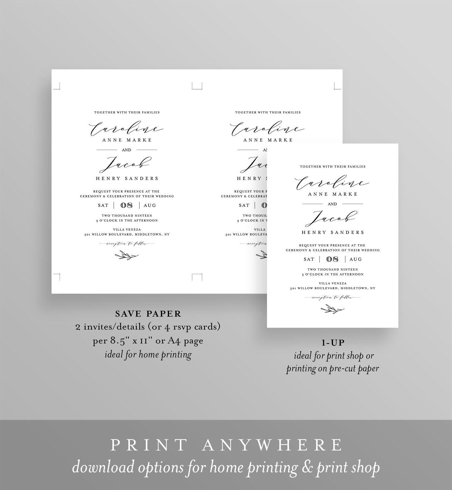 Editable Wedding Invitation Set Template, INSTANT DOWNLOAD