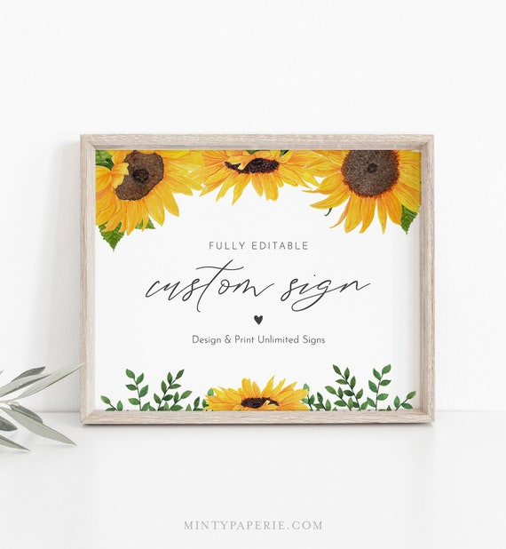 Sunflower Custom Sign Template, Rustic Wedding or Bridal Shower Table Sign, Create Any Sign, Instant Download Templett 5x7, 8x10 #0010-164CS