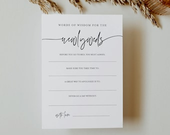 Words of Wisdom for the Newlyweds, Advice Card, Well Wishes, Minimalist Wedding, Editable, INSTANT DOWNLOAD, Templett #0009-396BG