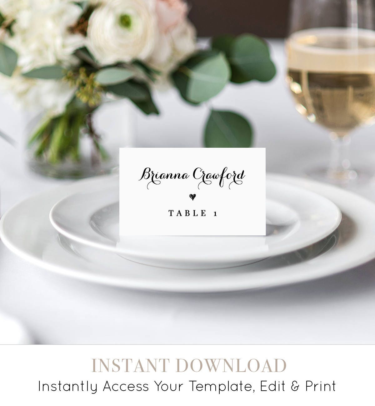 Corjl #002-202PC Printable Escort Card Editable Name Cards Navy /& Blush Floral Wedding Place Card Template Editable Instant Download