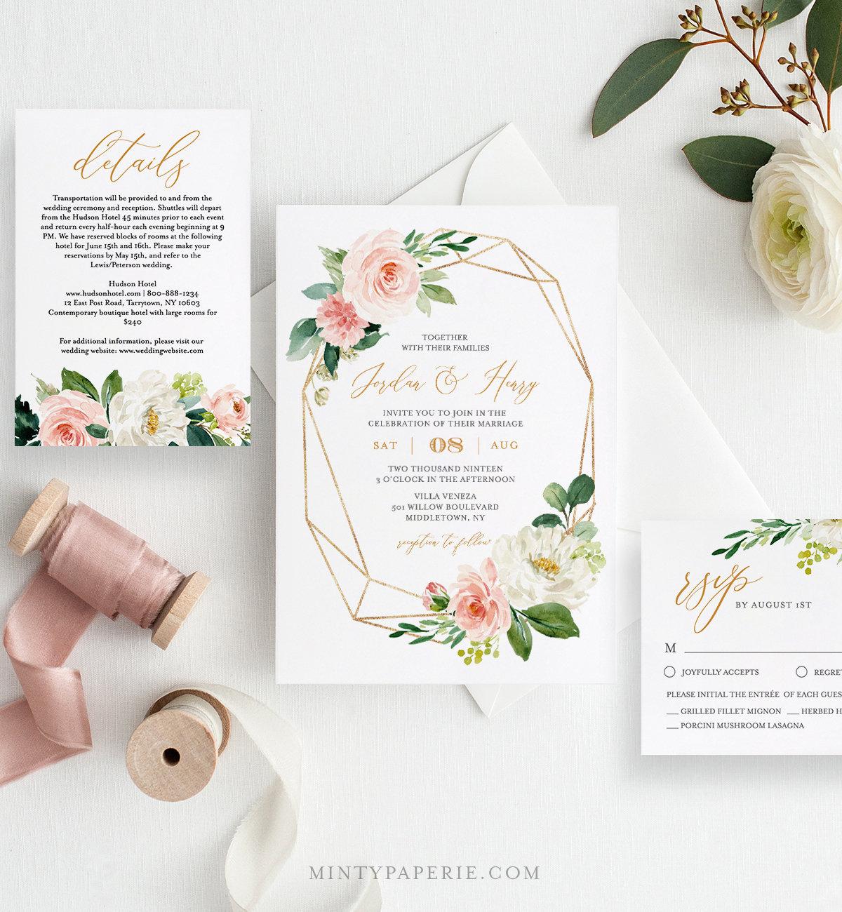 Edit Wedding Invitation Card: Self-Editing Wedding Invitation Set 100% Editable Template