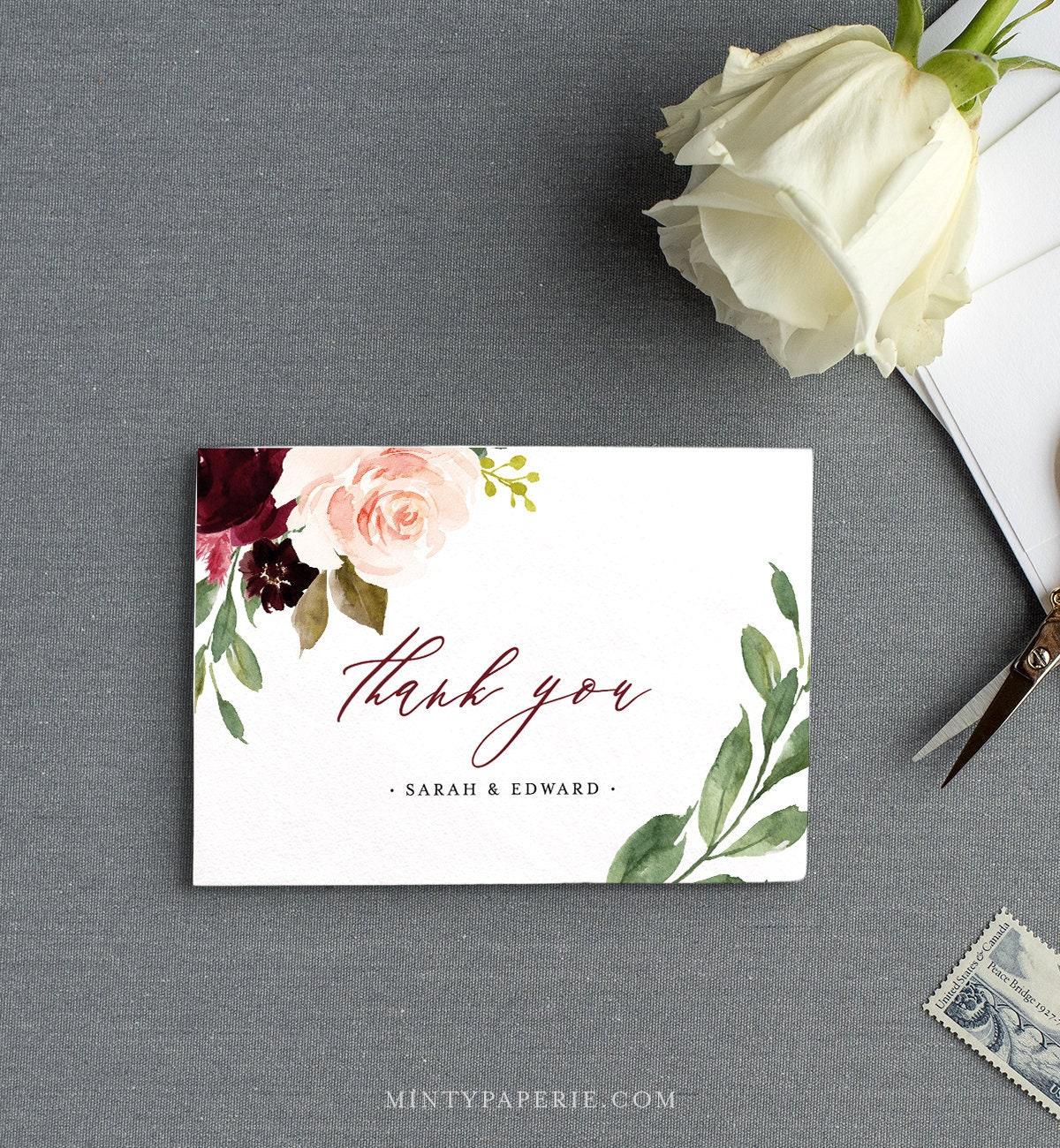 F5 DIY 100/% Editable Text Templett Boho Wedding INSTANT DOWNLOAD Printable Blush floral Folded Card Wedding Thank You Card Template