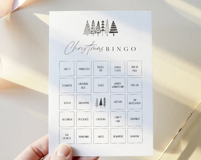 Christmas Bingo Game, Printable Holiday Party Game, Family Fun Christmas Game, Editable Template, Instant Download, Templett 5x7 #0025-123CG
