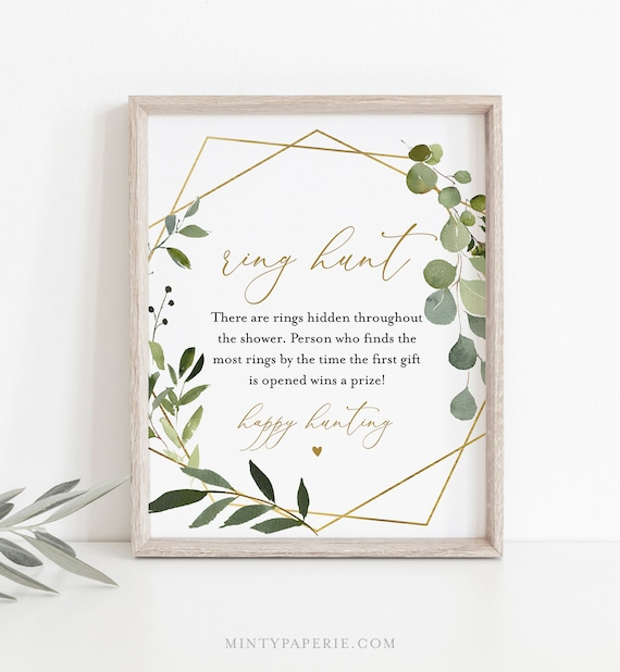 Ring Hunt Bridal Shower Game, Ring Game Template, Bridal Shower Printable, Greenery & Gold, Editable, Instant Download, Templett #056-222BG