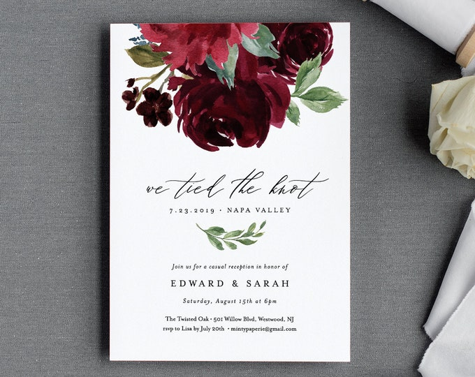Elopement Wedding Invitation Template, Printable Boho Reception Party, We Tied the Knot, 100% Editable Text, INSTANT DOWNLOAD #062-117EL