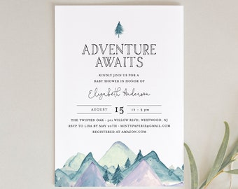 Baby Shower Invitation Template, Adventure Awaits, Mountain, Gender Neutral, Girl or Boy Baby Shower, Templett, INSTANT DOWNLOAD #063-127BA