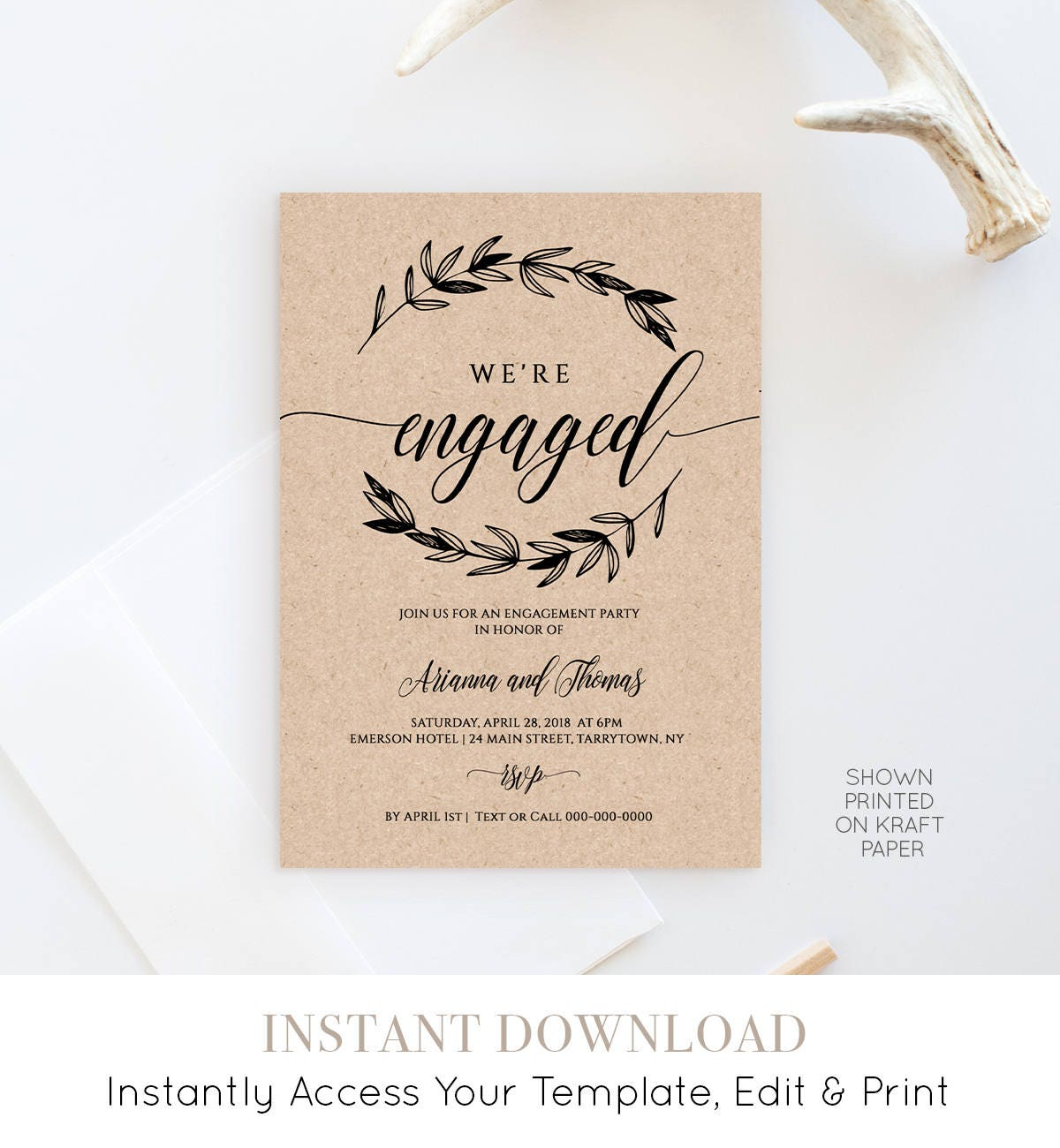 Printable Engagement Party Invitation Template Rustic Wedding