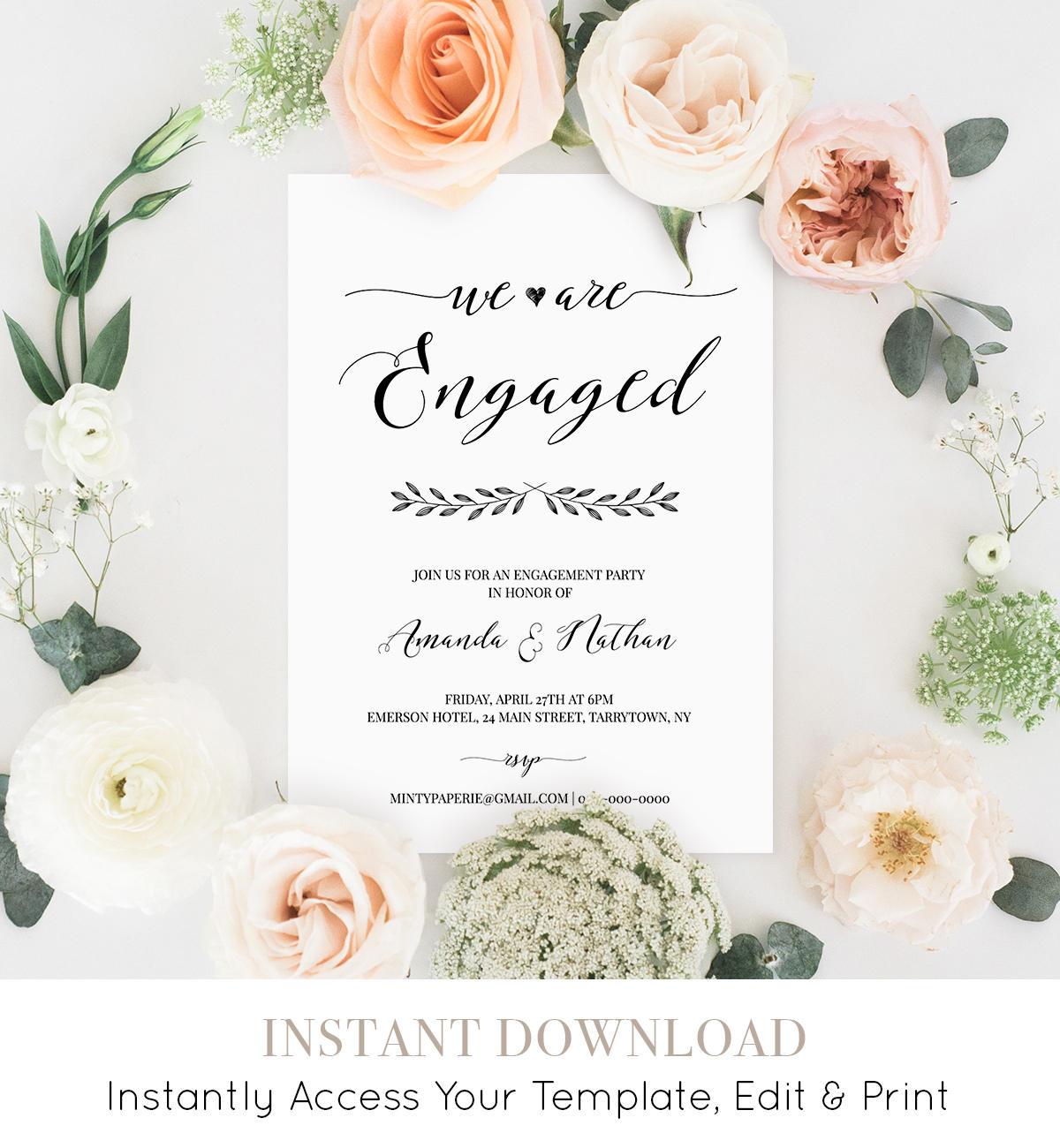 Engagement Party Invitation, Printable Wedding Engagement Invite, We ...