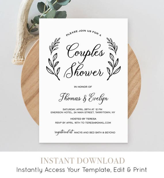 Couples Shower Invitation Template Printable Wedding Shower Etsy