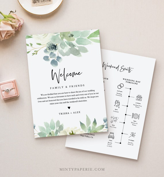 Succulent Welcome Letter & Timeline Template, Wedding Order of Events, Editable Welcome Bag Note and Itinerary, INSTANT DOWNLOAD #075-124WB