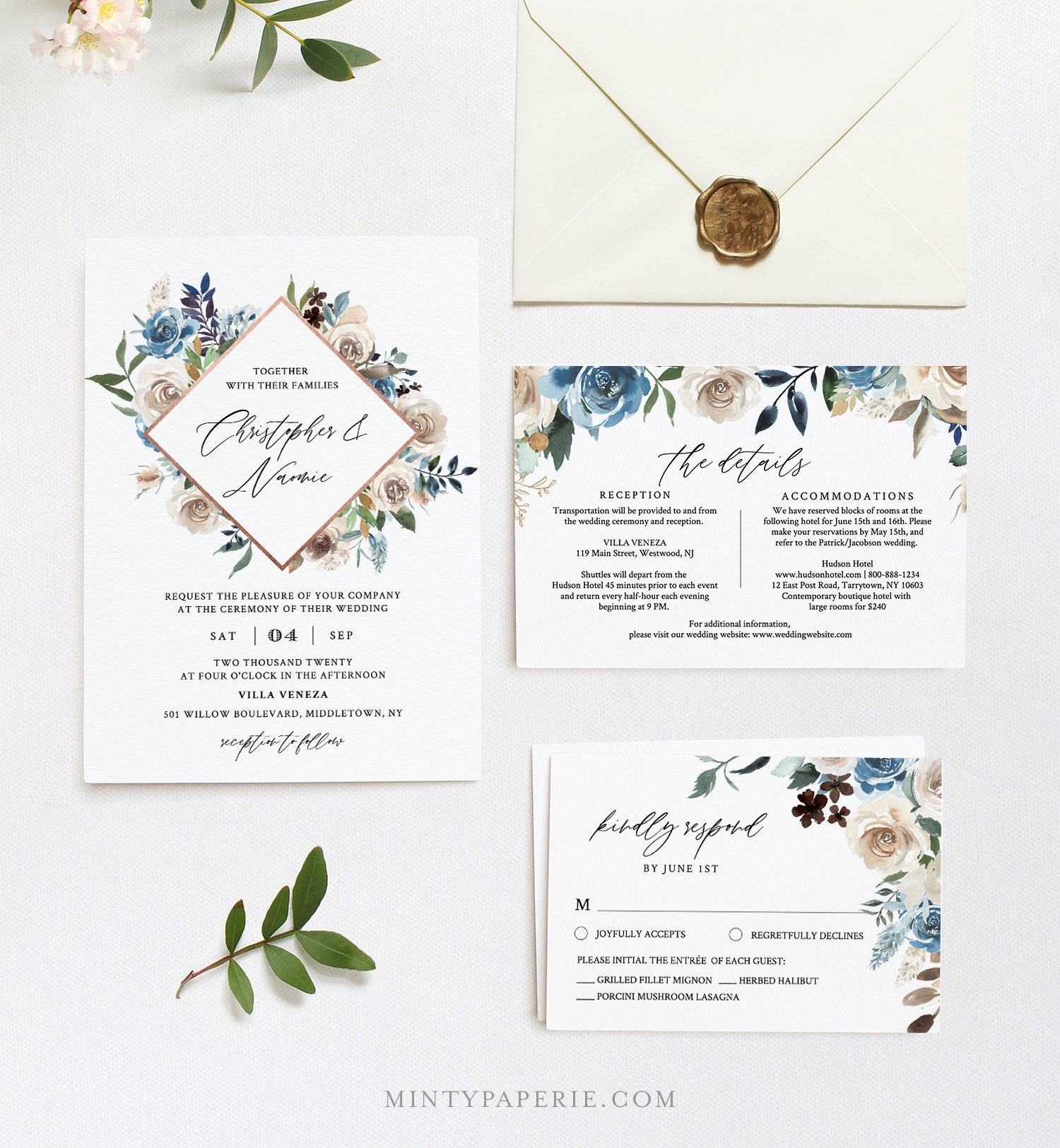 Blue Floral Wedding Invitation Template Boho Cream And Navy Floral