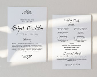 Wedding Program Printable, INSTANT DOWNLOAD, Order of Service Template, 100% Editable, Fan or Flat Program #039-407WP