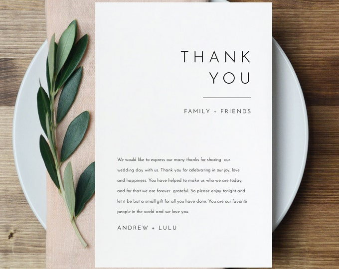 Minimalist Thank You Letter, Modern Napkin Note, Printable Menu Thank You, Editable Template, Instant Download, Templett 4x6 #094-139TYN