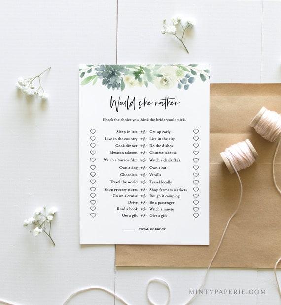 Would She Rather Bridal Shower Game, Instant Download, Edit Questions, EditableTemplate, Printable Wedding Shower, Templett #075-170BG