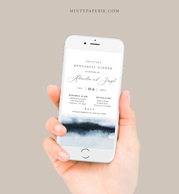 Digital Rehearsal Dinner Invite, Modern Watercolor Wedding Electronic Invitation, Evite, Text Message, Templett Instant Download #093-101RDD