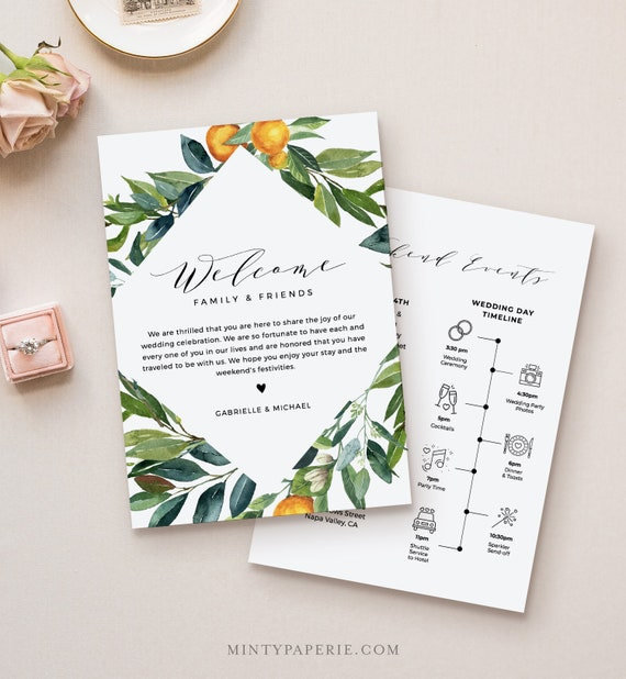 Welcome Letter & Itinerary Template, Citrus Orange Wedding Order of Events, Welcome Bag Timeline, INSTANT DOWNLOAD, Editable Text #084-129WB