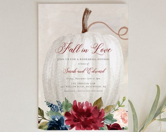 Fall Rehearsal Dinner Invitation Template, Printable Pumpkin Wedding Rehearsal Invite, Fall in Love, INSTANT DOWNLOAD, Templett #072A-147RD