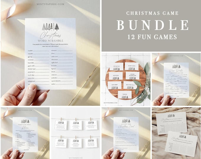 Christmas Game Bundle, Holiday Party Games, Family Fun, 12 Editable Games, Editable Template, Instant Download, Templett #0025CGB