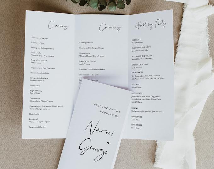 Modern Trifold Wedding Program Printable, Minimalist Order of Service Template, INSTANT DOWNLOAD, Editable, Catholic, Templett #096-503WP