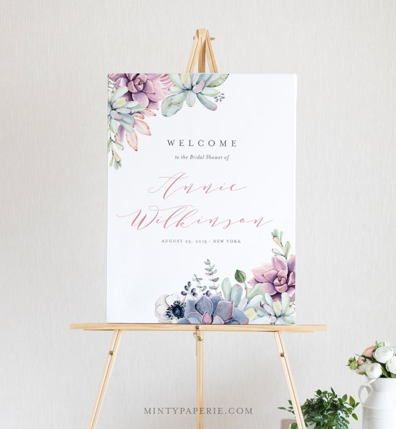 Succulent Bridal Shower Welcome Sign Template Instant | Etsy