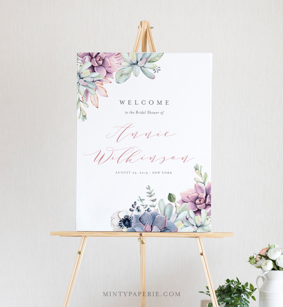 succulent bridal shower welcome sign template instant download diy